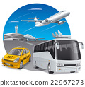 car and bus in airport 22967273