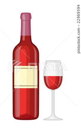 Glass and bottle of wine vector illustration. 22969394