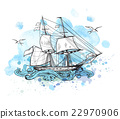 Background with sailing vessel 22970906