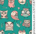 Cute, hand drawn owl seamless pattern 22973587