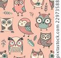 Cute, hand drawn owl seamless pattern 22973588