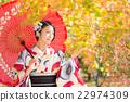 滑油纸伞 观赏秋天的树叶 黄叶 22974309