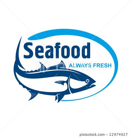 Stock Illustration: Fish market symbol with wild alaskan salmon