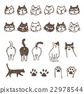 Various cats, face, buttocks, meat ball illustration 22978544