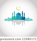 Mosque and Crescent moon, wave, shadow, blue color 22980172