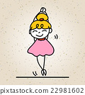 hand drawing cartoon happy people happy girl 22981602