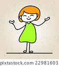 hand drawing cartoon happy people happy girl 22981603