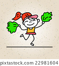 hand drawing cartoon happy people happy girl 22981604