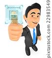 3D Businessman identifying with fingerprint 22983549