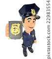 3D Policeman showing police badge 22983554