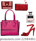 Women leather color handbags, purses and shoes 22984861