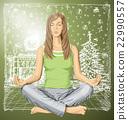 Vector woman meditating in lotus pose 22990557