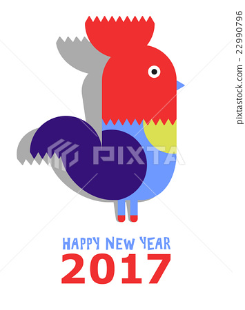 Happy New Year Of The Red Rooster Greeting Card Stock
