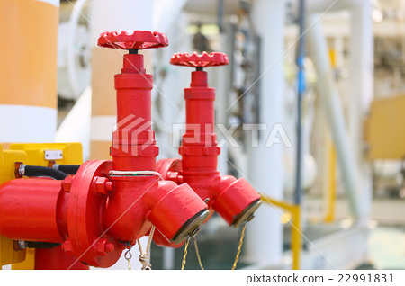 Stock Photo: Fire valve,installation of fire safety,Security