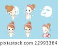 cartoon girl with facial mask 22993364