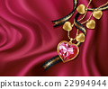 Necklace heart on red silk 22994944