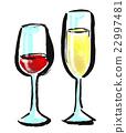 붓 그리기 음료 와인 22997481