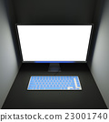 Bright empty computer display and keyboard 23001740
