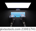 Robot typing on pc in darkness 3d illustration 23001741