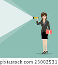 Business woman holding flashlight 23002531