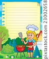 Lined paper with barbeque theme 2 23002658