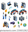 Datacenter Isometric Isolated Icons Set  23003262
