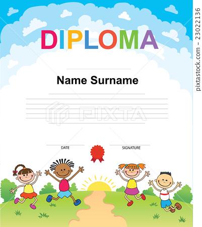 Kids Diploma certificate background design 23022136