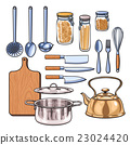 kitchen utensils in a color sketch style 23024420