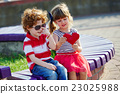 little boy and girl with heart 23025988
