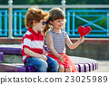little boy and girl with heart 23025989