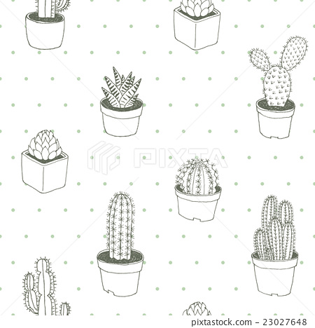 Cactus Polka Dot Vector Seamless Pattern Hand Draw Stock