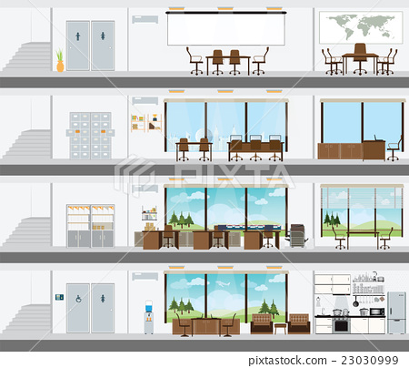 Cutaway Office Building With Interior Design Plan Stock
