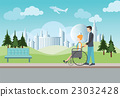 Smart man pushing wheelchair with disabled woman. 23032428