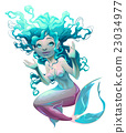 Young mermaid with white background 23034977