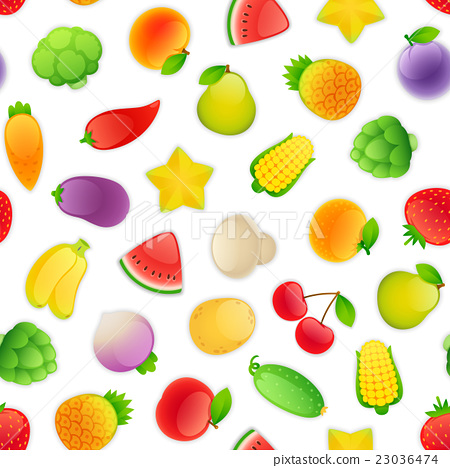 Seamless Pattern with Fruits and Vegetables 23036474