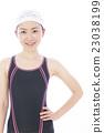 수영 피트니스 수영 여자 수영복 젊은 여성 흰색 배경 23038199