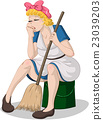 Tired Woman With Broom Sitting On Bucket 23039203