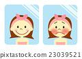 얼굴의 붉은 걱정하는 여성 23039521