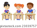 Funny pupils sit on desks read draw clay cartoon 23039757