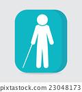 Blind man with stick symbol 23048173