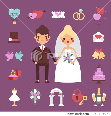 Bride groom wedding vector set. 23059397