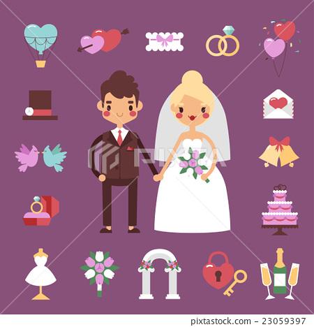 Bride groom wedding vector set. 23059397