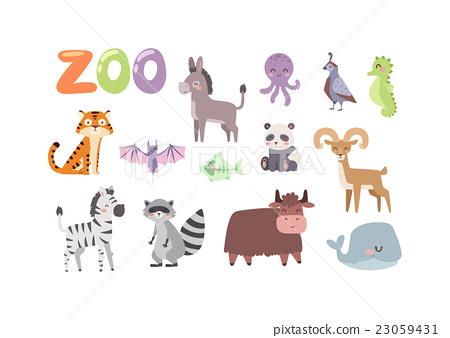 Stock Illustration: Zoo animals vector set.