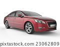 Red car mock up on white background 23062809