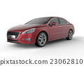 Red car mock up on white background 23062810