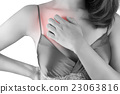 Woman scratching her itchy chest, isolate on white background 23063816