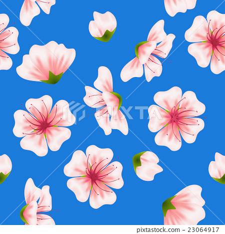Vector seamless sakura blue pattern 23064917