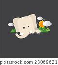 Cute Elephant Portrait Vector Illustration. 23069621