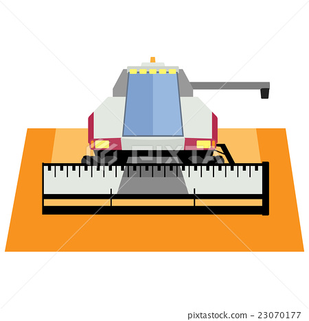 Modern red combine harvester on a white background 23070177