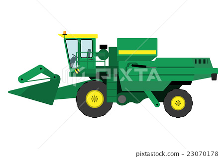 Modern green harvester on a white background 23070178